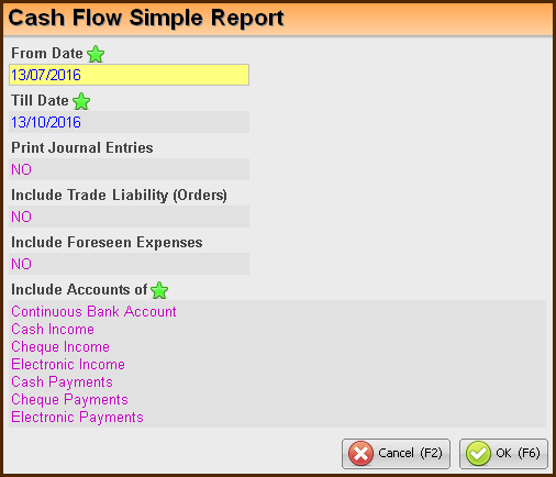 Cash Flow Simple Reports