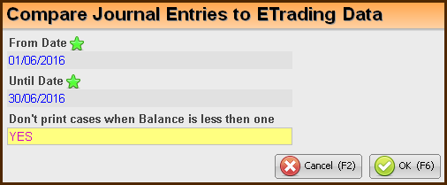 Compare Journal Entries to ETrading data