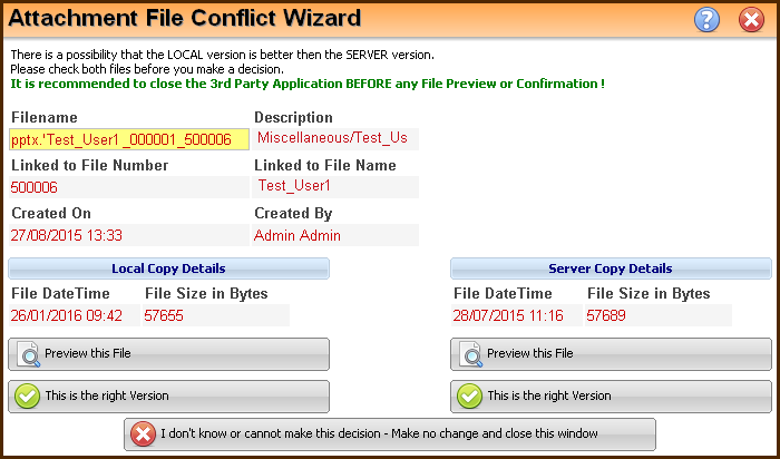 attachment file conflict wizard