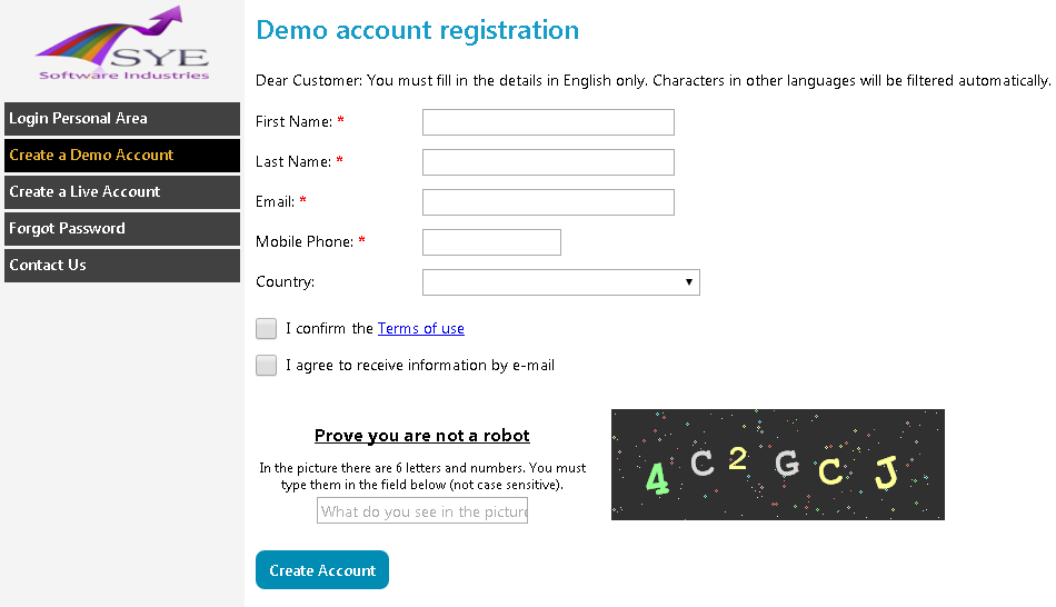 Registration page for Demo Account