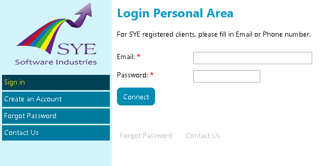 SYE Hyper Website Login page
