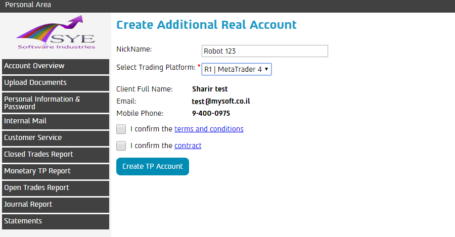 Create Additional Real / Demo Account